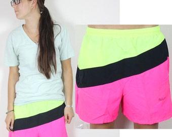 "Vintage Retro Bright Neon ""Bahamas""  Swim Shorts Boardshorts"