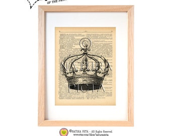 Crown dictionary print -N01-Crown print-Crown on book page-Crown wall art-Victorian print-Upcycled Vintage Dictionary art- by NATURA PICTA