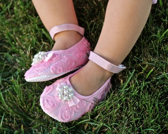 Pink Baby Shoes - Bling Baby Shoe - Soft Baby Shoes - Baby Crib Shoes