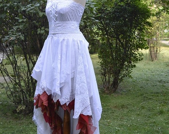 Recycled Upcycled Wedding Dress Fairy Tattered Romantic Dress White and Burnt Red