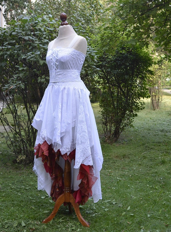 Recycled Upcycled Wedding Dress Fairy Tattered Romantic By