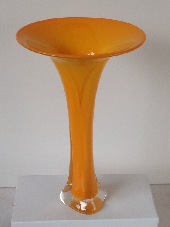 Hand Blown Glass Vase - Taxi Yellow Orange Opaque Fluted Bud Vase by Jonathan Winfisky