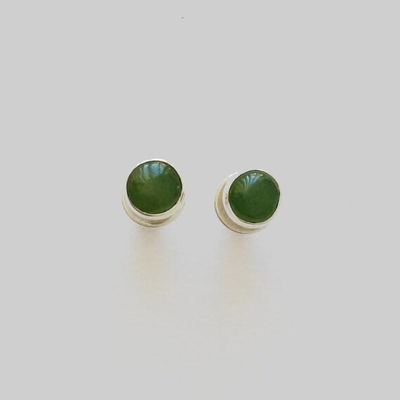 Jade Stud Earrings in Sterling Silver 5mm