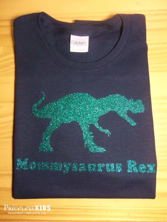 Bling Mommy Glitter Dinosaur T Shirt Personalized By