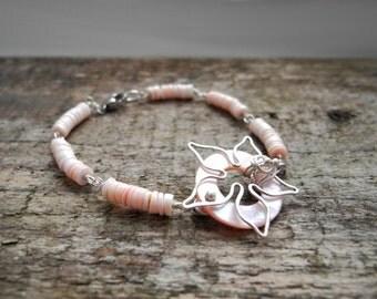Silver bracelet, flower bracelet, pastel pink, wire wrapped bracelet, pink shell, organic jewelry