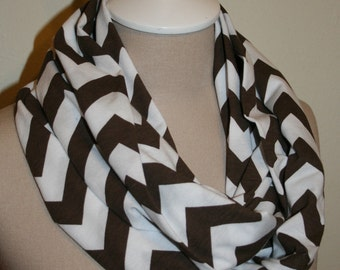 "Chevron Infinity Scarf Brown on White zig zag Jersey knit Loop Scarf 9"" x 60"" L - Discontinued color-ltd qty"