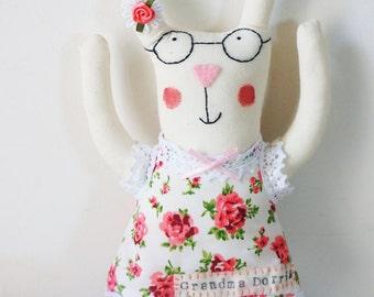 Handmade bunny rabbit art doll, bunny rabbit plush, grandma bunny