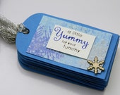 Handmade Gift Tags, Christmas Tag Set, Yummy Tummy, Snowflake, Ice Blue And White, Die Cut