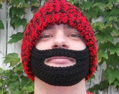 Lumberjack Hat Red and Black Knit Hat with crocheted Black Beard velcro