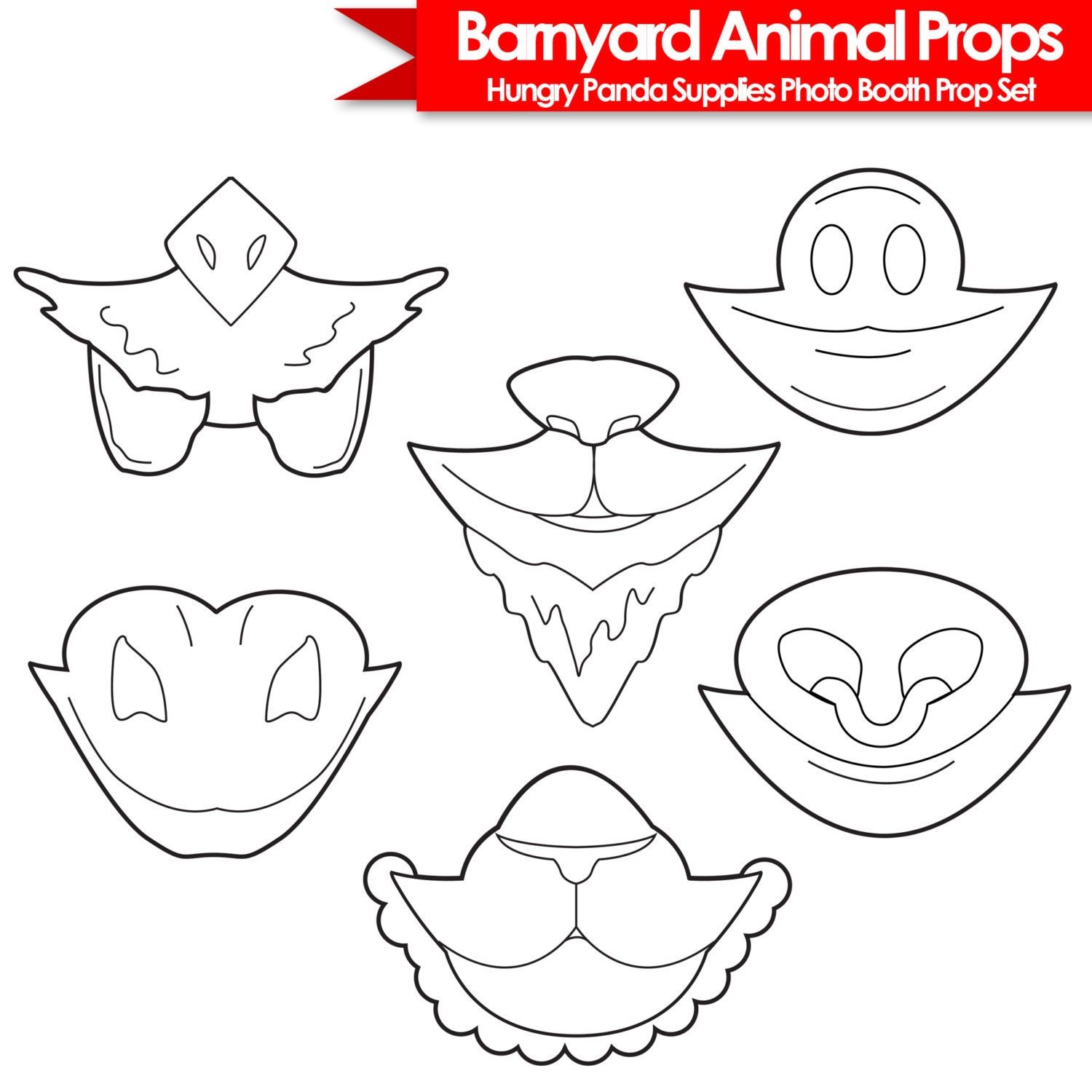 barnyard animals printable photo booth props black and white