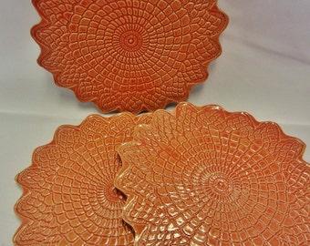 Ceramic Lace Trivet, Red Ceramic Lace Trivet, Lace Trivet, Red Trivet, Red Pottery Trivet, Ceramic Lace Spoon Rest, custom 4-6 weeks to make