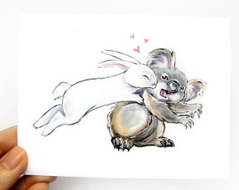 Koala and Bunny Card, I Love You, Anniversary Card, Personalized Card, Valentines Day, Funny Card, Blank Greeting Card, Bunny Rabbit Art