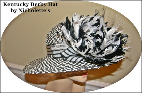 SALE Ladies Hat Black and White Big Brim with Huge Feather Flower FREE Shipping USA Derby Style