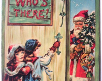 Vintage Childrens Book. Who's There? Merrimack Publishing Corp, Printed in Hong Kong. Christmas,Santa Claus,