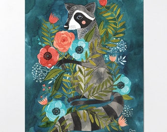 Raccoon and Flora - 8x10 art print