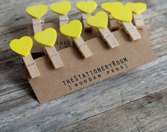 Mini Wooden Yellow Heart Shape Pegs for Gift Packaging, Wedding Favours, Handmade Goods - Set of 10