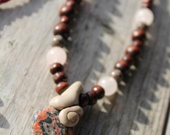 Hemp Necklace, Handmade Clay Pendant, Gemstone Pendant, Clay Gemstone Jewelry, Hemp Jewelry, Polymer Clay Jewelry, Macrame Jewelry