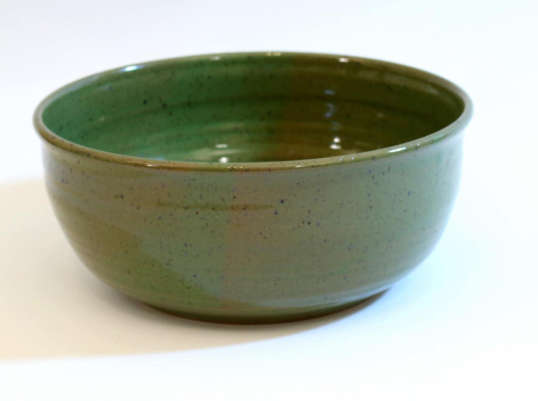 Large Pottery Bowl Handmade Stoneware Serving Bowl Green