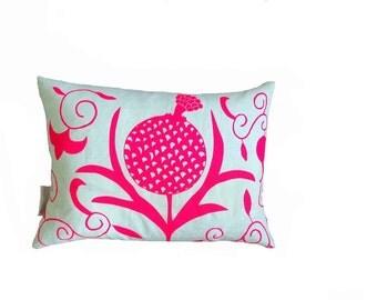 SALE: Neon pink Pomegranate cushion 30cm x 40cm