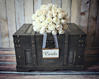 Trunk-large-XL-vintage inspired-shabby chic-wedding-card holder-rustic-wood-card box-suitcase-wood trunk-wishes-advice-wedding card-bride
