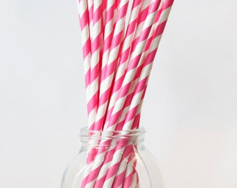 Pink and White Paper Straws Pink Party Pink Party Supplies Pink Stripes Drinking Straws Pink Cupcake Birthday Party Straws / Set of 20