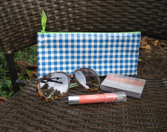 Zippered Oil Cloth Pouch-Blue Preppy Gingham Check Cosmetic Bag--Purse Organizer--Pencil pouch