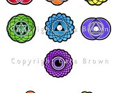 Chakra Iron On patch set of 7 T Shirt Transfers yoga clothing rainbow colors