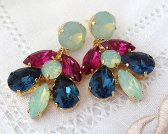 Mint opal pink & blue Swarovski Chandelier earrings, Dangle earrings, Drop earrings, Bridal earrings, Swarovski Rhinestone, Bridesmaids gift