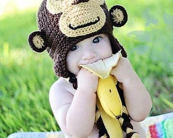 Crochet Monkey Hat with Earflaps. Monkey Beanie
