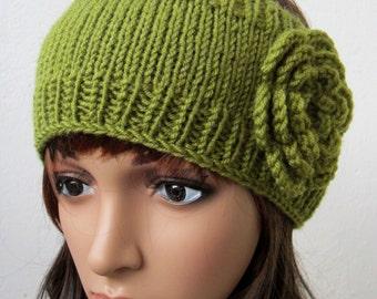 hand knit headband crochet flower headwrap ear warmer hat lime green crocheted flower romantic