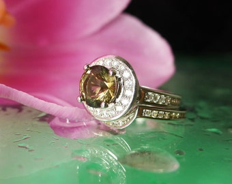 Sterling Wedding Set, Herkimer Diamond Ring, Unique Wedding Set, Gemstone Wedding Set, Herkimer Diamond, Diamond Alternative, Conflict Free