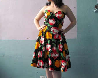 Vtg A.J. Bari Floral Formal Cocktail Dress / Cut Out Back / Sweetheart Princess