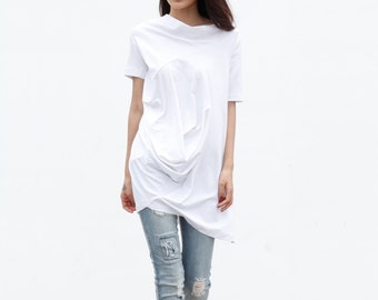 Casual Lagenlook And Relaxed Pullover Short Sleeve T-shirt Dress Top For Women - NC380