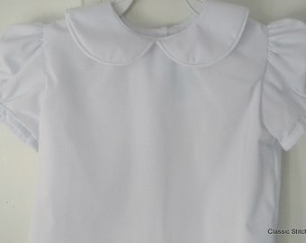 Girl White Peter Pan Collar Blouse Shirt- white, navy or red trim
