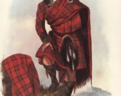 Drummond, Vintage Scottish Clan Print (Scotland Art, Family Art, Highlander Kilt Book Plate to Frame) Red Tartan Plaid No. 46