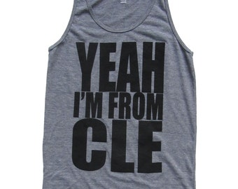 American Apparel Super SOFT Vintage Feel Unisex Tri-Blend Tank - 'Yeah I'm From CLE' on Heather Gray