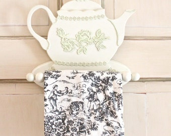 Tea Towel Holder Shabby Chic Cottage Chic Decor - FREE DOMESTIC SHIPPING -