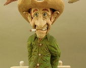 """Hand Carved Wood Cowboy Caricature """"Time for a New Hat"""""""