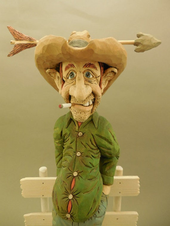 "Hand Carved Wood Cowboy Caricature ""Time for a New Hat"""