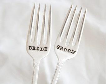 Bride & Groom Wedding Cake Fork Set  - Hand Stamped Gift - special forks for the wedding cake and every anniversary after