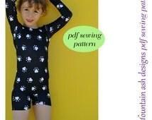 Unitards #2 pdf sewing pattern in girls sizes 2-14 long sleeve