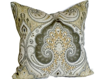 Kravet Grey & Tan Latika Ikat Decorative Pillow Cover 18x18 20x20 22x22 or 14x20 Lumbar Pillow Accent Pillow Throw Pillow