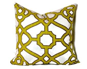 Chartreuse and White Trellis Decorative Pillow Cover 18x18 20x20 22x22 or Lumbar Pillow Throw Pillow Accent Pillow Toss Pillow Celtic Knot