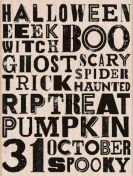 Hero Arts EeeK! Background Stamp Halloween Wood Rubber Stamp K5950