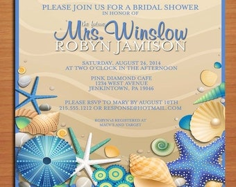 Blue Sea Shell / Summer Bridal Shower Customized Printable Invitations /  DIY