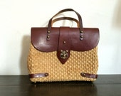 Leather and Straw Handbag 60s Resort Purse Brass Hardware John Romain