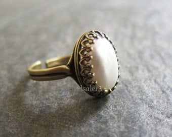 Pearl Ring Pewter Ring Modern Victorian Estate Heirloom Vintage Style Silver Gold Brass Black White Friendship Elegant Bridesmaids Gift