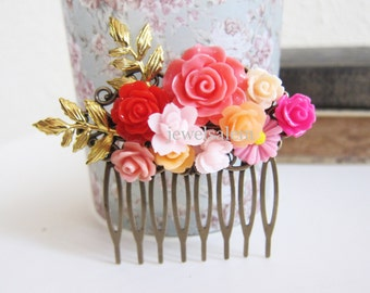 Hot Pink Wedding Hair Comb Red Gold Pink Fuchsia Orange Peach Floral Bridal Hair Pin Head Piece Bridesmaid Shabby Chic Flowers Leaves Leaf