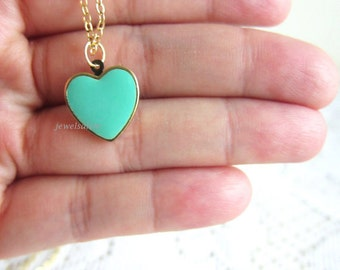 Seafoam Heart Necklace Friendship Necklace Turquoise Necklace Mint Necklace Pink Heart Necklace Bridesmaid Necklace Layered Necklace