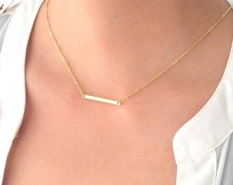 Gold Bar Necklace Thin Long Small Rectangle Modern Rustic Casual Simple Every Day Layered Layering Necklace C1